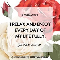 """Affirmation: """"I relax and enjoy every day of my life fully. Positive Self Talk, Positive Words, Positive Life, Prosperity Affirmations, Positive Affirmations, Romantic Good Night Image, Feel Good Quotes, Love Challenge, Law Of Attraction Affirmations"""