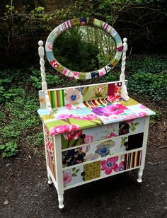 The Vintage Twist Company 3 drawer vintage dressing table & dress mirror decoupaged in patchwork floral fabric painted distressed white Decoupage Furniture, Decoupage Box, Diy Furniture Projects, Hand Painted Furniture, Funky Furniture, Large Furniture, Upcycled Furniture, Vintage Furniture, Furniture Decor