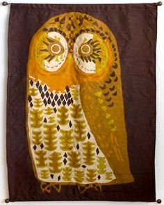 "David Weidman owl tapestry - I'd like to play with these shapes, changing the colors into ""my own""..."