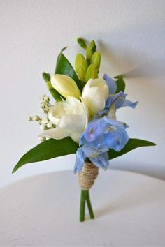 White freesia and blue delphinium boutonniere wrapped with twine. Freesia Wedding Bouquet, Corsage Wedding, Wedding Bouquets, Blue Wedding, Floral Wedding, Wedding Flowers, Wedding Day, Wedding Stuff, Blue Delphinium