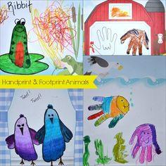 Handprint & Footprint Animals #kids #activity @Shan McMahon Lump Toys