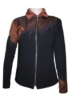 Rust brown and black western show jacket with copper/gold/dark brown details - by CM Design