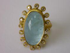 Pamela Harari's Aquamarine and Diamond Ring in 22K Gold