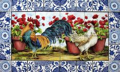 http://www.tilesbymimi.com/MURALS/Landscapes/roosters_tile_mural_delft-2.JPG