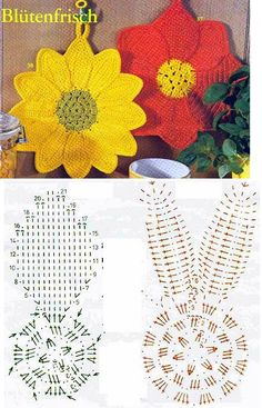 The Effective Pictures We Offer You About topflappen stricken muster A quality picture can tell you Crochet Edging Patterns, Crochet Mandala Pattern, Crochet Diagram, Crochet Chart, Crochet Squares, Crochet Stitches, Crochet Sunflower, Crochet Leaves, Crochet Flowers