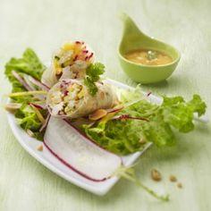 Rouleaux de poulet à la mangue et au radis, façon thaïe