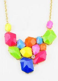 Multi Western Women Jewelry Chain Acrylic Necklace