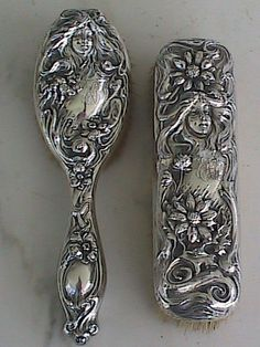 Antique Art Nouveau Sterling Silver Repousse Hair Brushes Maiden