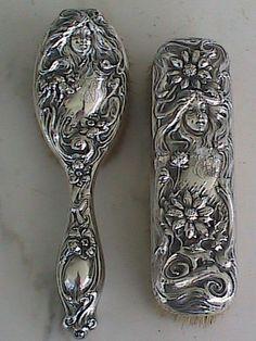 Antique Art Nouveau Sterling Silver Repousse Hair Brushes Maiden