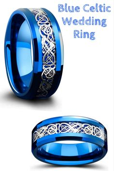 Blue and silver celtic wedding ring. This mens celtic wedding ring is designed with a celtic inlay design resting on top of a blue woven carbon fiber inlay.