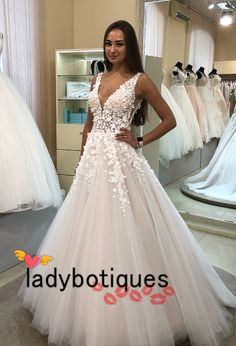 2019 wedding dress, white long wedding dress, gorgeous v neck long wedding dress bridal gown V Neck Wedding Dress, Wedding Dress Trends, Modest Wedding Dresses, Perfect Wedding Dress, Wedding Dress Styles, Bridal Dresses, Wedding Gowns, Tulle Wedding, Dream Wedding