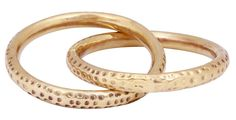 Bulk Wholesale Handmade Set of 2 Linked Rings in Metal with Golden Finish – Decorated with Dotted Patterns – Unique Fashion Accessories / Stylish Jewelry from India