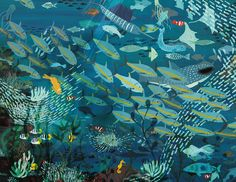 Illustration by Marc Martin — Another image from A River - inspired by the Great. Art And Illustration, Vogel Illustration, Illustrations And Posters, Guache, Sea Art, Fish Art, Australian Artists, Under The Sea, Art Inspo