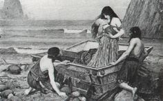 """of my favourite John William Waterhouse art: """" """" Stolen from the home of its owner in 1947 and has not been seen since. It exists now only in this black and white image. John William Waterhouse, Out To Sea, Pre Raphaelite, Mythological Creatures, Mythological Monsters, Greek Mythology, Oil On Canvas, Argos, Conceiving"""
