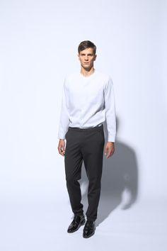 nice collarless shirt | comfortable pants with elastic waistband