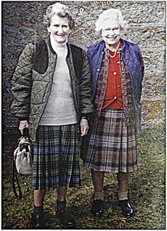 Cousins: The Hon Margaret Rhodes and Queen Elizabeth II at Balmoral.  She is the daughter of the Queen Mother's sister and was a lady-in-waiting for the Queen Mother towards the end of her life.