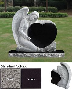 This a beautiful fully sculpted headstone of an angel holding a heart. Comes in two standard sizes: SIZE 1: 30″ X 8″ X 30″ headstone with a 42″ X 14″ X 8″ base (included) SIZE 2: 36″ X 8″ X 36″ headstone with a 48″ X 14″ X 8″ base (included) Your choice of three standard colors (Gray, Seashell or Black), and can be purchased in other colors too.