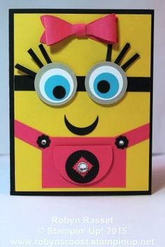 Minion Girl by Robyn Rasset – Cards and Paper Crafts at Splitcoaststampers - kids cards Kids Cards, Baby Cards, Minion Card, Girl Birthday Cards, Children Birthday Cards, Diy Birthday, Punch Art Cards, Baby Kind, Cute Cards