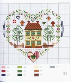 sweet home heart house sampler - cross stitch pattern