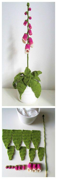 Crochet Pretty Foxglove Flower Free Pattern