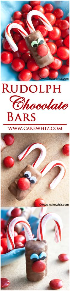 RUDOLPH CHOCOLATE BARS... a fun and easy treat to make with kids on Christmas, using store-bought candies! From cakewhiz.com