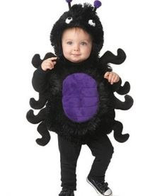 Creepy, crawly spiders aren't so creepy after all when it's your pudgy little bug crawling across the room. This baby spider costume from Chasing Fireflies will get plenty of smiles this Halloween. Halloween Costume Patterns, Halloween Dress, Baby Costumes, Halloween Outfits, Halloween Costumes For Kids, Fall Halloween, Costume Ideas, Toddler Halloween, Toddler Spider Costume