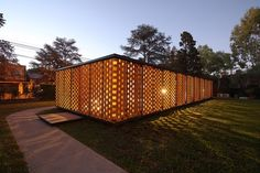 Experimental brick pavilion, Argentina. The brick panels are moveable and allow…