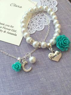 ed1bf0221f77 Rose flower flower girl stretchy bracelet necklace by buysomelove Pulseras