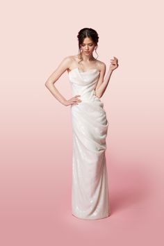 Vivienne Westwood Made-To-Order Long Delicate Drape Dress In Ivory Sequins