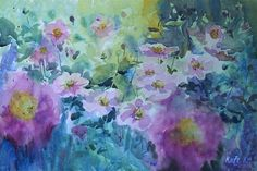 Love anemones with their bright yellow centers reminding me of crowns. So this one is titled 'Wind crowns'. Painted last week in Kilmurry Nursery during my Paint Along Classes. It started as a demo for the group but then I ended up staying after and finishing it. It will be available to buy on my website later on. To reserve pm me. #buzz #painting #watercolor #watercolours #winsorandnewton #anoemone #windflowers #crowns #garden #summer #flowers #lovemyjob #instagood #inspiring_watercolors…