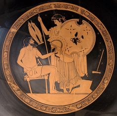 Hephaestus hands the new Achilles' armor to Thetis (Iliad, XVIII, 617). Attic red-figure Kylix, 490–480 BC. Greece. Altes Museum