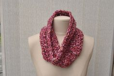 Crocheted cowl, dark pink multicolour by DaisyElizaDesigns on Etsy