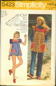 Vintage sewing pattern Smock top, pants, and bikini shorts Simplicity 5423 - 30 bust I remember these! Mini Bikini, The Bikini, Simplicity Sewing Patterns, Vintage Sewing Patterns, Apron Patterns, Clothes Patterns, Dress Patterns, Sewing Ideas, Sewing Projects
