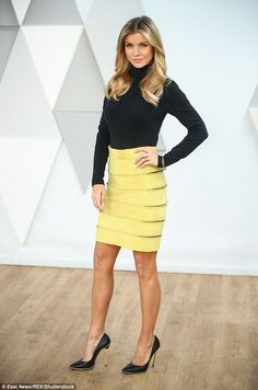 Mellow yellow: Joanna Krupa, looked in high spirits as she made a TV appearance on the Polish breakfast show Dzien Dobry TVN in Warsaw, Poland, on Sunday Joanna Kruppa, High Fashion, Womens Fashion, Mellow Yellow, Classic Beauty, Supermodels, High Waisted Skirt, Celebrity Style, Cool Outfits