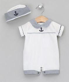 White & Blue All-in-One - Newborn & Infant by Zip Zap Baby Little Boy Outfits, Baby Boy Outfits, Kids Outfits, Toddler Outfits, Baby Boy Fashion, Kids Fashion, Baby Boy Christening, Nautical Outfits, Baby Suit