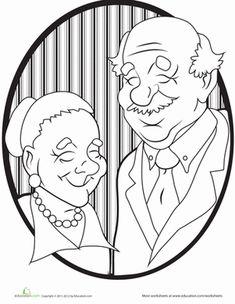 Kindergarten People Worksheets: Grandparents Coloring Page