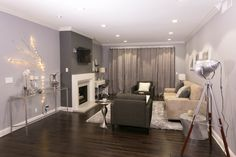 All gray, all day! This open living room's design was focused on function and comfort!