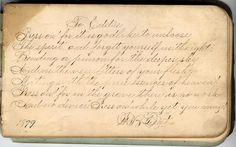 Click on image to enlarge Here's a lovely piece of old ephemera! This is a page from an antique autograph book. I just love the wonderful old handwriting on this! Share