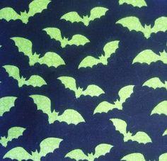 Halloween Fabric- Spooky Prints Green Bats