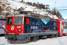 Ge 4/4 II 619 der RhB (Rhätische Bahn) in St. Moritz, Schweiz