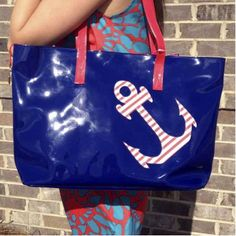 Anchor Tote-Hit the beach and pool this spring and summer in style! The bag has an interior pocket to keep your valuables safe and dry.