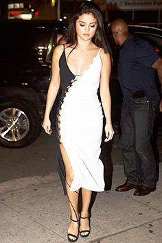 Selena Gomez in a colorblock black and white dress