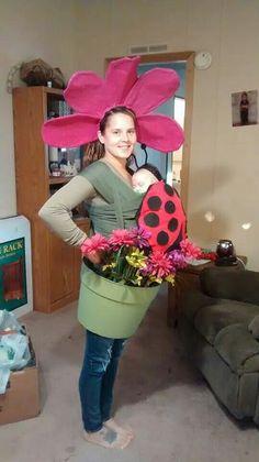 Diy baby wearing costume. Flowerpot ladybug