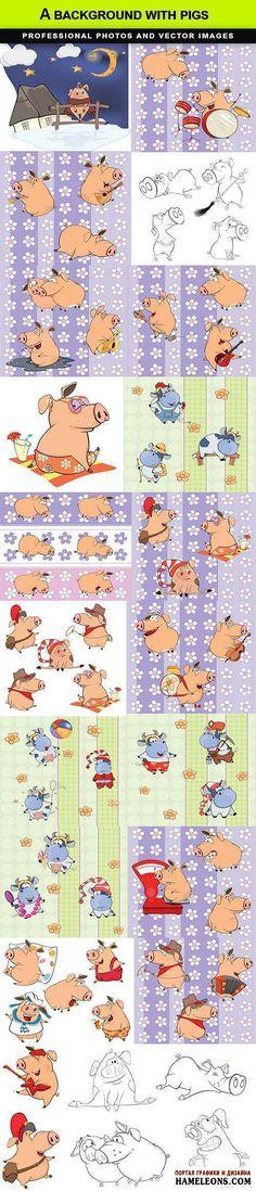 Векторные фоны с веселыми свиньями   Pigs