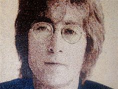 #Celebrity #portraits with hole-punch dots - John Lennon