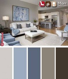 21 Living Room Color Schemes That Express Yourself. These living room color schemes will affect how the guests perceive the interior of your home. Let's enjoy these ideas and feel pleasure! Living Room Color Schemes, Living Room Colors, Living Room Grey, Living Room Designs, Grey Living Room Ideas Colour Palettes, Brown And Blue Living Room, Color Palettes, Living Room Decor Palette, Livingroom Color Ideas