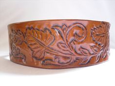 Hand tooled Leather dog collar on Etsy, $65.00