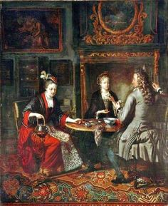 Gabriel Metsu (Dutch Baroque Era Painter, 1629-1667) Afternoon Tea in Holland