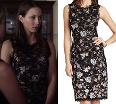 """Spencer wore this beautiful floral and lace dress to Ali's mother's funeral in Pretty Little Liars episode """"Surfing the Aftersho. Pretty Little Liars Episodes, Pretty Little Liars Aria, Pretty Little Liars Fashion, Aria Style, Spencer Hastings, Style Guides, Lace Dress, Pll, Formal Dresses"""