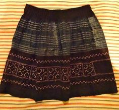 Vietnamese skirt showing batik and embroidered panels. (old and probably  originally part of a much bigger and longer traditional garment). 10.1.14